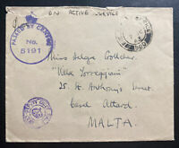 1943 Field Post Office England Censored OAS Cover To Malta