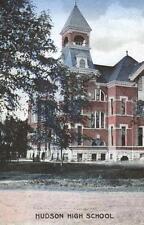ca 1907-1915 Hudson Wisconsin High School, hand-colored postcard @ F. R. Crane