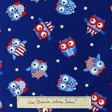 Patriotic Fabric - USA Owl Toss Navy Blue - Timeless Treasures Cotton YARDS