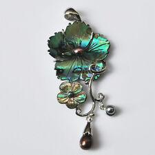 g0007 Abalone shell pearl flower long pendant focal bead 70mm