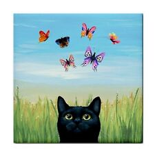 Large Ceramic Tile 6x6 black Cat 606 butterfly blue art painting LDumas