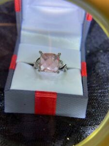 Estate Find.. Beautiful Square Hot Pink Topaz Stone Silver w/CZ's Cocktail Ring