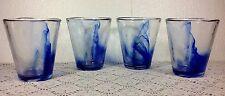 Bormioli Rocco Murano Blue 14 Ounce Beverage Glasses Set of 4