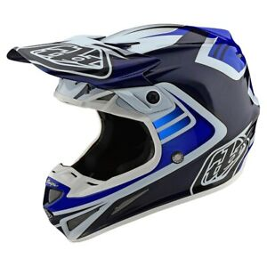 Troy Lee Designs SE4 Carbon Flash MX Offroad Helmet Blue/White 10279201