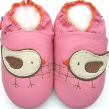 Minishoezoo bird pink12-18m soft sole non-slip leather shoes baby girl slippers
