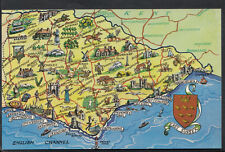 Maps Postcard - Map of East Sussex and English Channel   RS1886