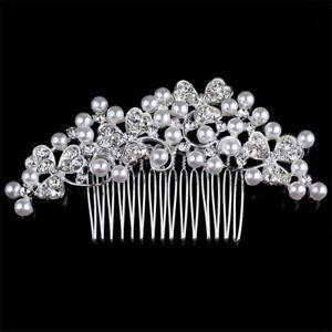 Wedding hair Accessories Crystal Silver clover Hair Comb Clip Pin Bridal Bride