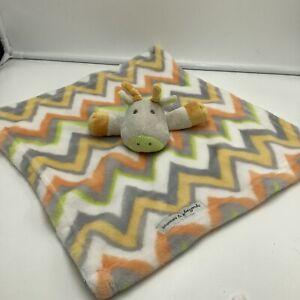 Blankets & Beyond Giraffe Chevron Zig Zag Baby Security Blanket Orange Yellow