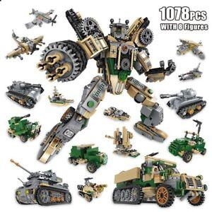 Tank Building Blocks 1078 Pcs Mini Figures Vehicle Educational Kids Toys Gift
