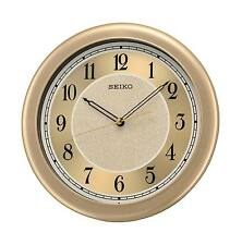 Seiko Analogue Gold Dial Quiet Sweep Seconds Hand Round Dial Wall Clock QXA592G