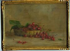 France 1910: The Cherry Basket, Still Life, Antique Frame, Listed Woman Artist
