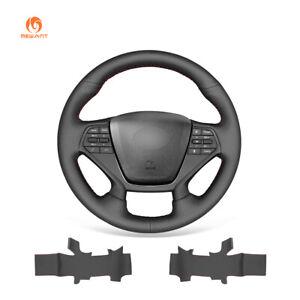 Black PU Leather Car Steering Wheel Cover for Hyundai Sonata (4-Spoke) 2015-2019