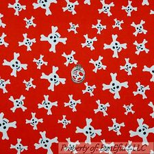 BonEful Fabric FQ Flannel Cotton Quilt Red B&W Skull Cross Bone Skeleton BOY Dot