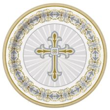Unique Party 8 Silver Radiant Cross 9 Inch Paper Plates - Gold Tableware