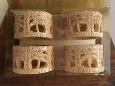 Waverly Tahiti Ii Carved Palms Napkin Rings Holders Set of 4