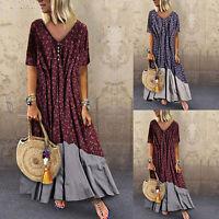 Women Short Sleeve Maxi Long Dress Ladies Floral V-Neck Summer Party Tunic Dress