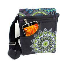 Crossbody Boho Purse 100% Cotton Black Geometric Mandala Hippie Shoulder Bag