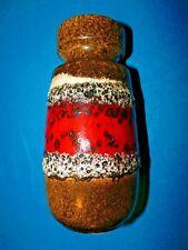 SCHEURICH KERAMIK FAT LAVA WEST GERMAN VASE 242/22 BROWN RED CREAM c1960's