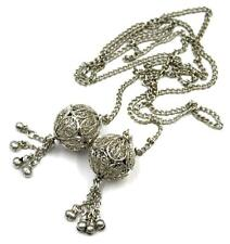 Vintage 1960s 'Hippy' Indian Long Silver Plate Wirework Lariat / Tassel Necklace