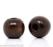 200 Kaffeebraun Holzperlen Kugelnperlen zum Fädeln 10x9mm