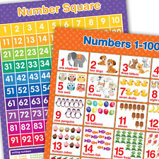 Numbers 1-100 & Number Square Wall Chart A3