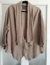 Oska Size 2 Linen Jacket Beige Oversized Lagenlook