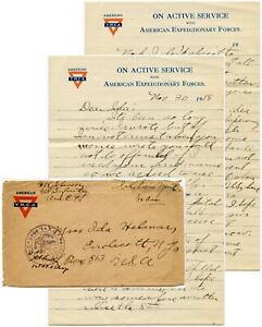 1918 LETTER H.K JOHNSON AMERICAN MILITARY in FRANCE AEF CENSOR to IDA HELINAR NY
