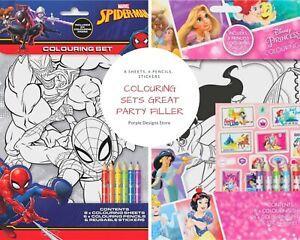 Colouring Book Kids Set Travel Fun Activity Pack Gift, Disney Princess,Spiderman