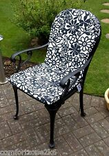 2 x ZIPPY SHAPED HIGH BACK DINING CHAIR CUSHIONS SEAT PAD DAISY GARDEN FURNITURE