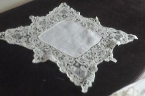 Antik Handgemacht Taschentuch Mit Band Spitze VV706