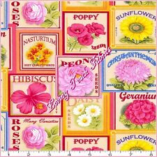 """FABRI-QUILT """"FLOWER SEED PACKETS"""" 112-28671 MIXED FLORAL FABRIC PER 1/2 YD"""