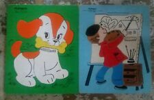 Lot of 2 Vintage Playskool Wooden Puzzles