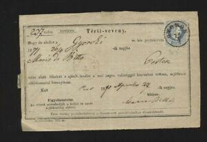 Ung. Retour-Recepisse 1871 aus Gyorok mit 10 Kreuzer frankiert