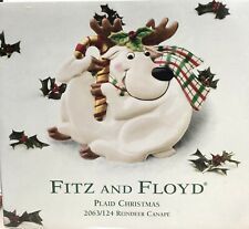 """Fitz and Floyd Christmas Oval Plate Reindeer Plaid Cookie Canape Tray 10""""x9"""""""