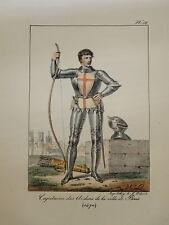 LITHO COULEUR PORTRAIT COSTUME HOMME CAPITAINE VILLE PARIS MOYEN AGE 1820