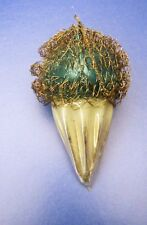 Vintage Ice Cream Cone Wire Wrapped Glass Christmas Ornament - GREEN