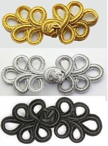 Frog Fastener Button Knots Colours: Gold, Silver, Black, white #6 (Melt method)