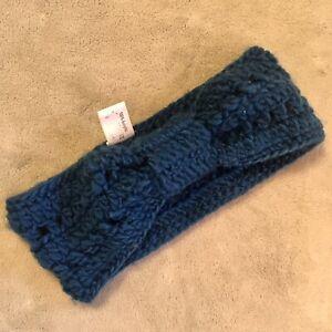 Teal Blue Bowknot Crochet Headband Tickled Pink Ear Warmer Hairband