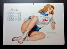 """Vintage March 1951 sexy risque pin-up calendar page by Al Moore  8"""" x 12"""""""