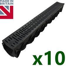 10 x Drain Channel Drainage Plastic PVC Gutter Water Rain Drive Trendy Grate 1m