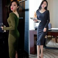 New Fashion Women thin Knitted Sweater Bodycon V Neck Long Pencil Party Dress