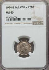 1920 H Sarawak 1 Cent, NGC MS 63, Scarce in MS, Malaysia