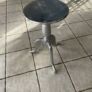 Small Aluminum Bistro Side End Table Accent Glam Round Polished Chrome