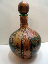 New listing Vtg Italian Old World Map Globe Liquor Decanter Bottle Leather Wrapped c. 1960s