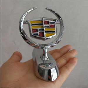 Chrome Car Front Grilles Hood Stand Ornament Emblem Fit for Cadillac SRX ATS XTS