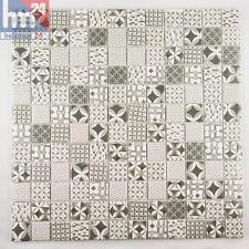 Azulejos de Mosaico Vallata Cerámica Patrón Retro Gris,Blanco,Negro 30x30x0,4cm