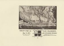"""1976 Vintage CALIFORNIA """"GREAT FIRE IN SAN FRANCISCO MAY 4TH 1850"""" Lithograph 52"""