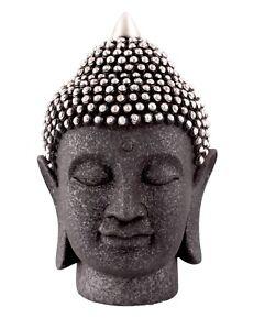 Silver and Black Buddha Head Ornament Home Decor Figurine 27cm Yoga Meditation