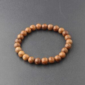 New 8mm Wood Beaded Bracelet Fashion Stretch Bangle Men Women Fashion Jewelry
