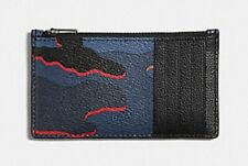 Coach Men's Zip Card Case Wallet PVC Signature Camo QB/Blue Multi F37353 $95